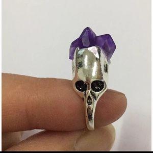 Purple Crystal Skull Ring